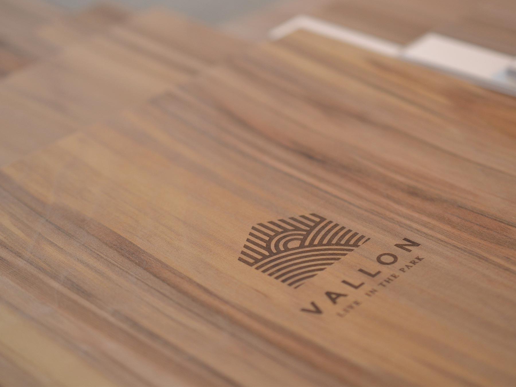 vallon logo wood burn